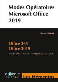 Modes opératoires Microsoft Office 2019 et Office 365