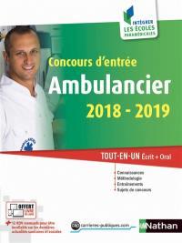 Ambulancier, concours d'entrée 2018-2019