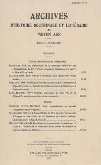Archives d'histoire doctrinale et littéraire du Moyen Age. n° 74,