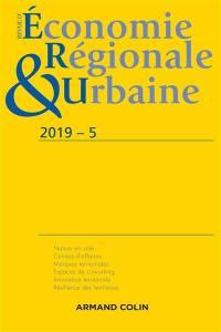 Revue d'économie régionale et urbaine. n° 5 (2019), Varia