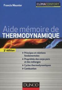 Aide mémoire de thermodynamique