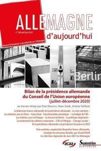 Allemagne d'aujourd'hui, n° 236. Bilan de la présidence allemande du Conseil de l'Union européenne (juillet-décembre 2020)