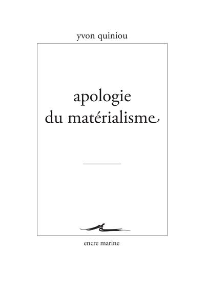 Apologie du matérialisme