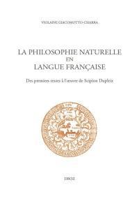 La philosophie naturelle en langue française