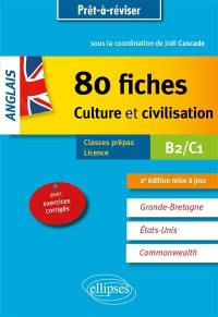 Anglais, 80 fiches culture et civilisation