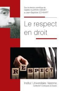 Le respect en droit