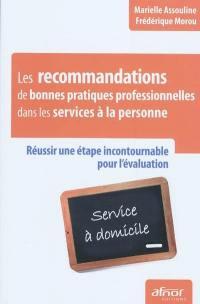 Les recommandations de bonnes pratiques professionnelles dans les services à la personne