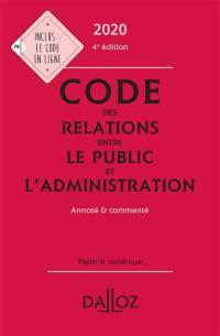 Code des relations entre le public et l'administration 2020