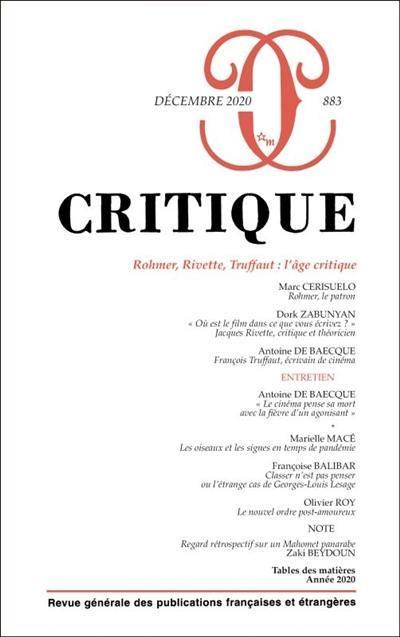 Critique. n° 883, Rohmer, Rivette, Truffaut