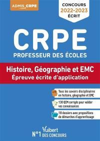 Concours CRPE professeur des écoles : histoire, géographie et EMC, épreuve écrite d'application : concours 2022-2023