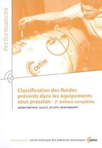 Classification des fluides présents dans les équipements sous pression