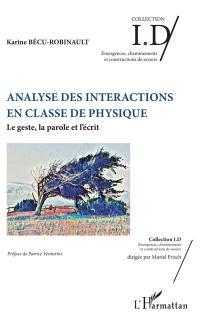 Analyse des interactions en classe de physique