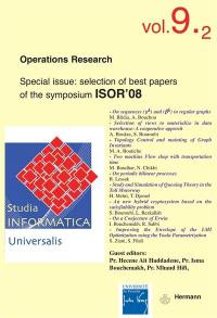 Studia informatica universalis. n° 9-2, Operations research
