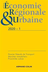 Revue d'économie régionale et urbaine. n° 1 (2020), Noeuds de transport