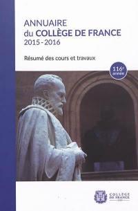 Annuaire du Collège de France 2015-2016