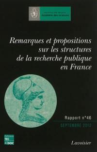 Remarques et propositions sur les structures de la recherche publique en France