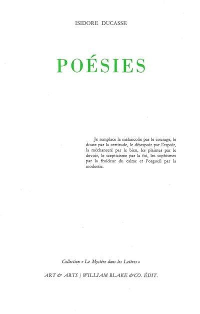 Poésies : préface à un livre futur