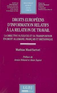 Droits européens d'information relatifs à la relation de travail