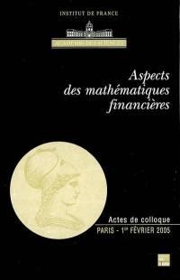Aspects des mathématiques financières