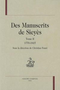 Des manuscrits de Sieyès. Volume 2, 1770-1815