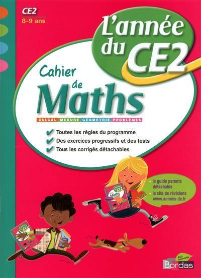 Cahier de maths, l'année du CE2, 8-9 ans