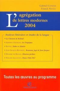 L'agrégation de lettres modernes, 2004