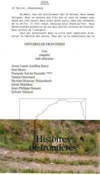 Histoires de frontières
