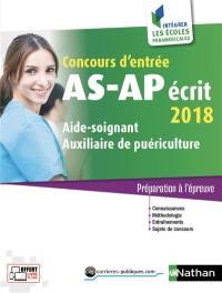 Concours d'entrée AS-AP, écrit 2018