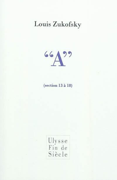 A, Sections 13 à 18