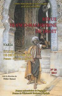 Revue franco-maghrébine de droit. n° 20, Etudes de droit comparé France-pays du Maghreb