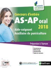 Concours d'entrée AS-AP, oral 2018