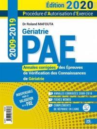 Gériatrie PAE, procédure d'autorisation d'exercice 2020
