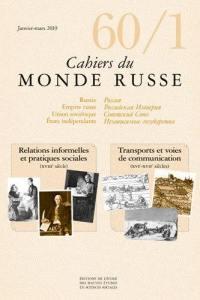 Cahiers du monde russe. n° 60-1, Transports et voie de communication (XVIe-XVIIe siècles)