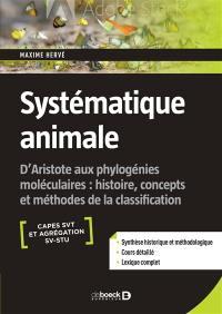 Systématique animale, Capes STV et agrégation SV-STU