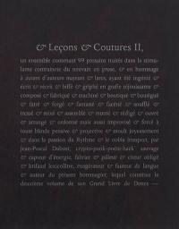 Et leçons & coutures. Volume 2,