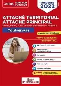 Attaché territorial, attaché principal : externe, interne, 3e voie, examen professionnel, catégorie A : tout-en-un, concours 2022